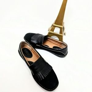 BORN Suede Leather Fringe Penny Loafers Shoes